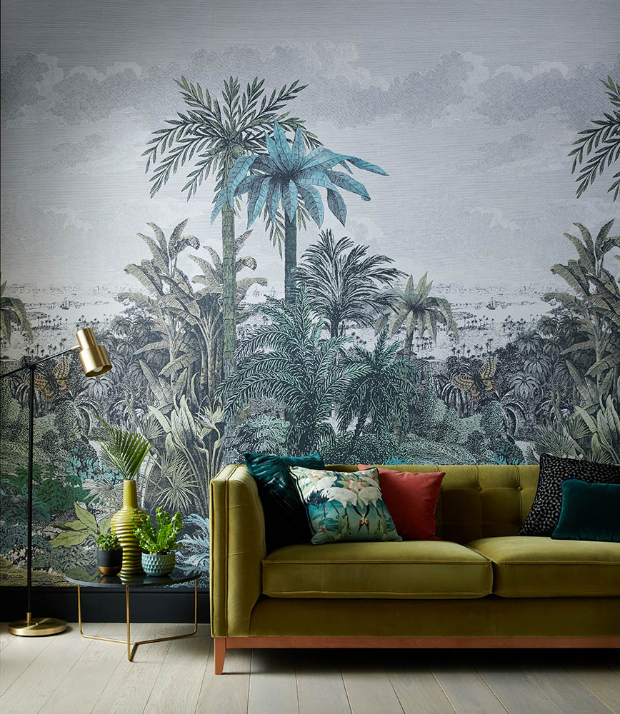 Digitally printed wallpaper mural
